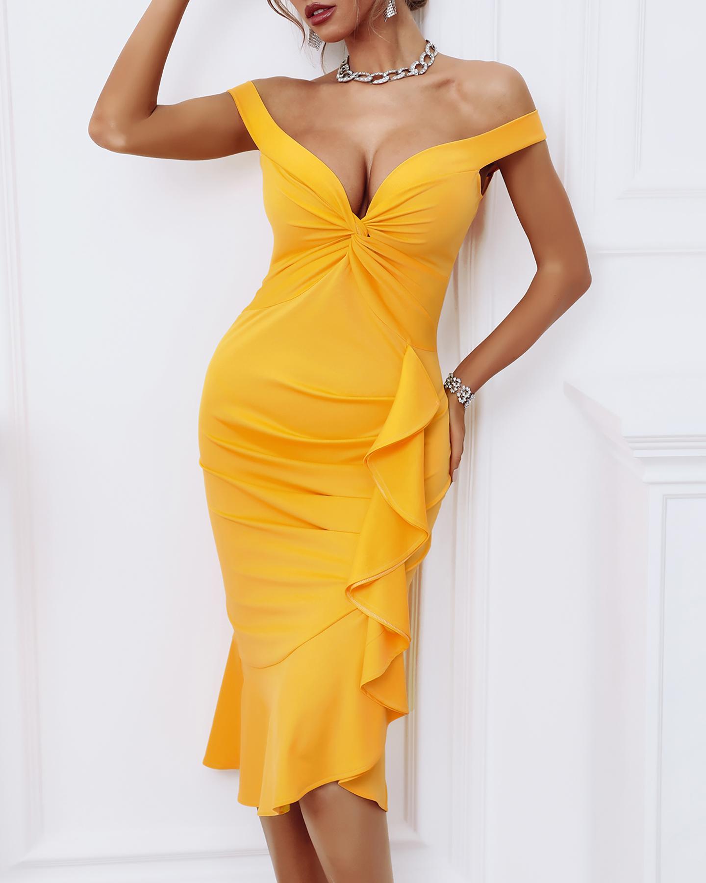 Plain Off Shoulder Ruffle Hem Ruched Women Dress, Yellow