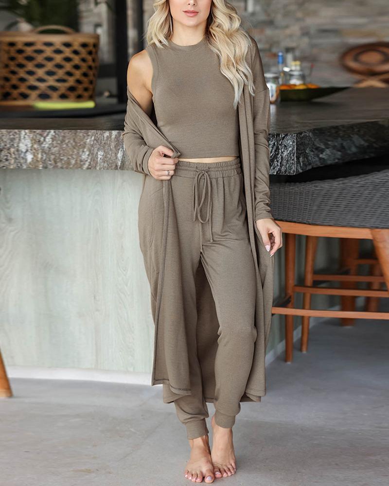 Crop Tank Top & Drawstring Pants With Longline Cardigan
