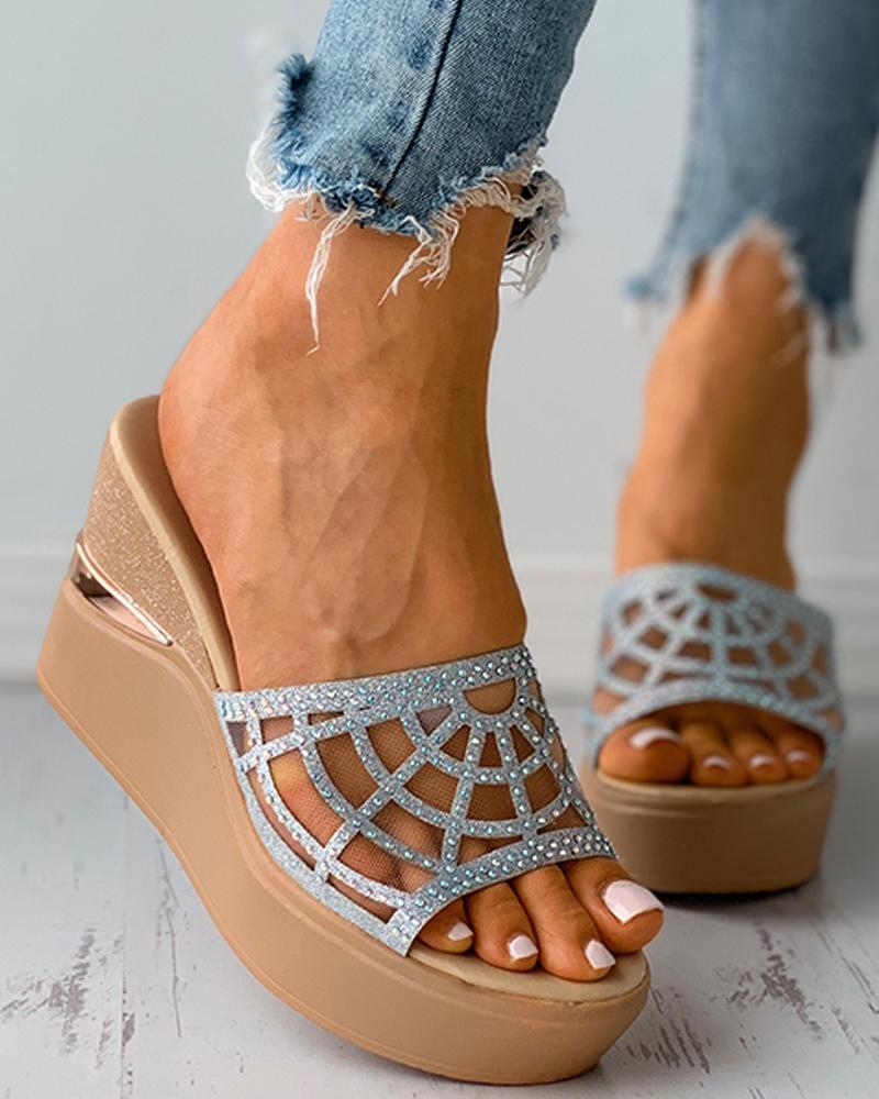 Mesh Open Toe Studded Platform Slippers