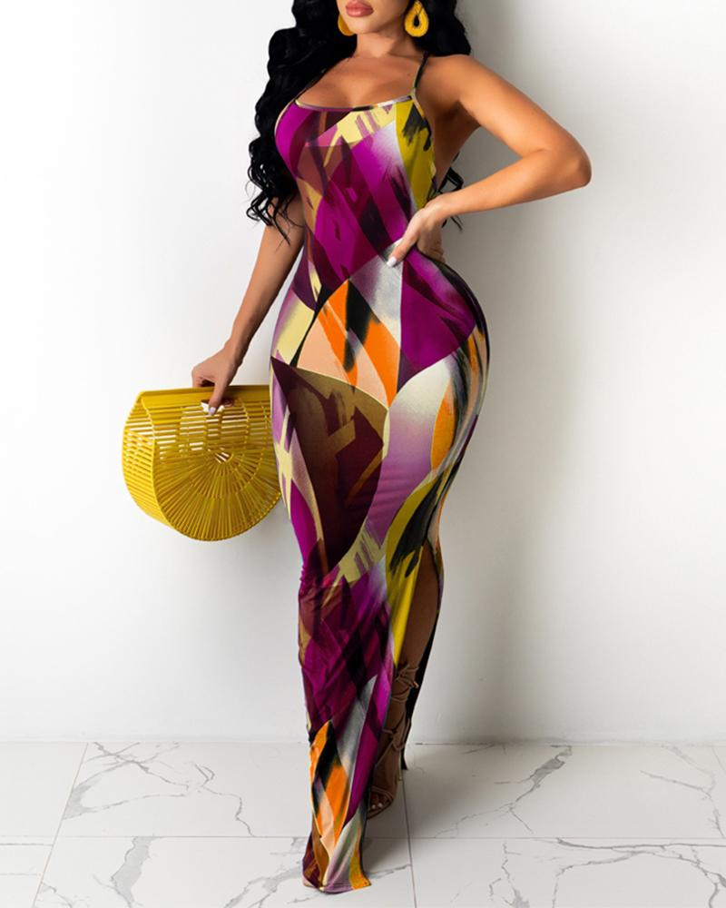 Colorblock Crisscross Backless Maxi Dress