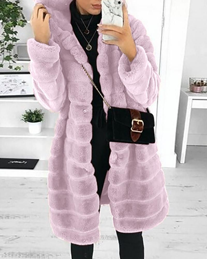 Pocket Design Long Sleeve Hooded Teddy Coat