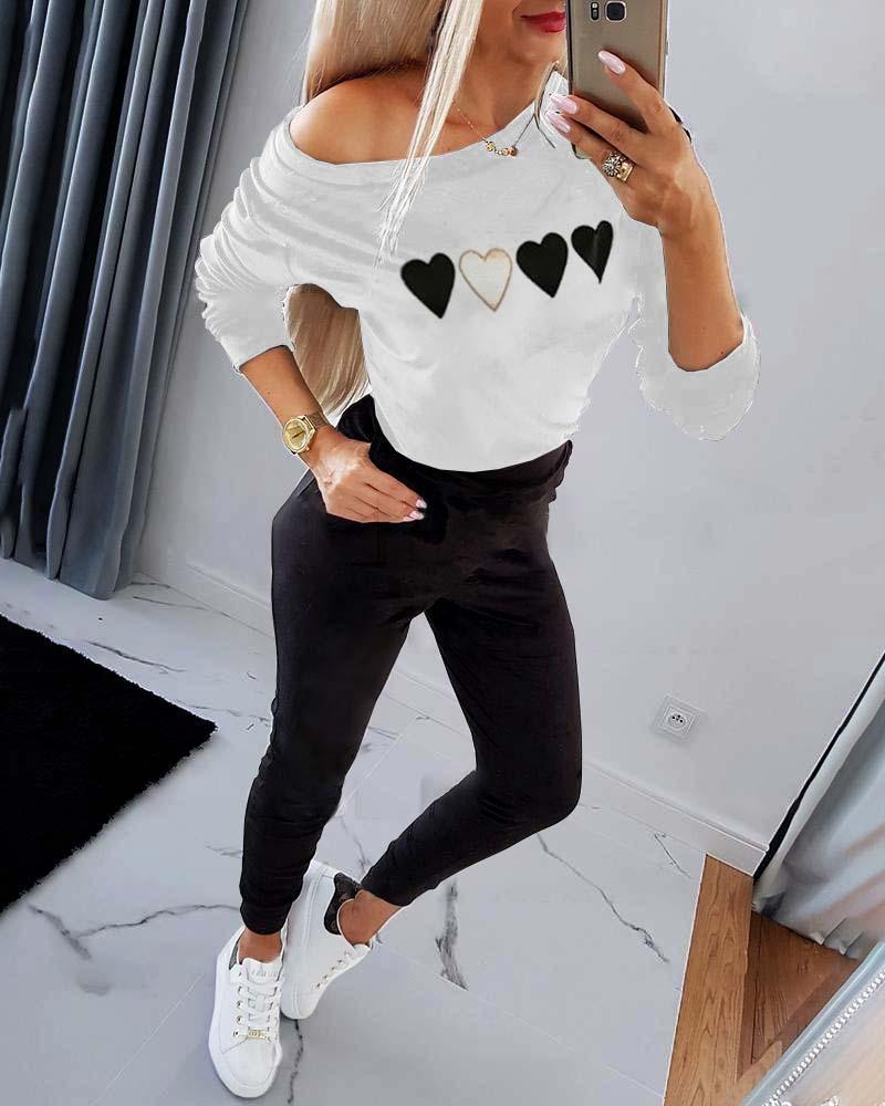 Heart Print Sweatshirt & Pocket Design Pants Set
