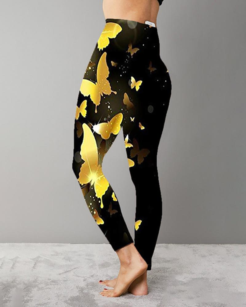 Butterfly Print High Waist Skinny Sporty Leggings