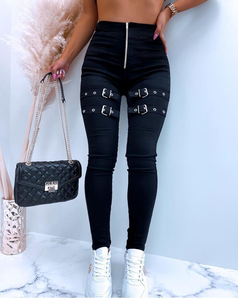 Zipper Design Buckled Skinny Pants