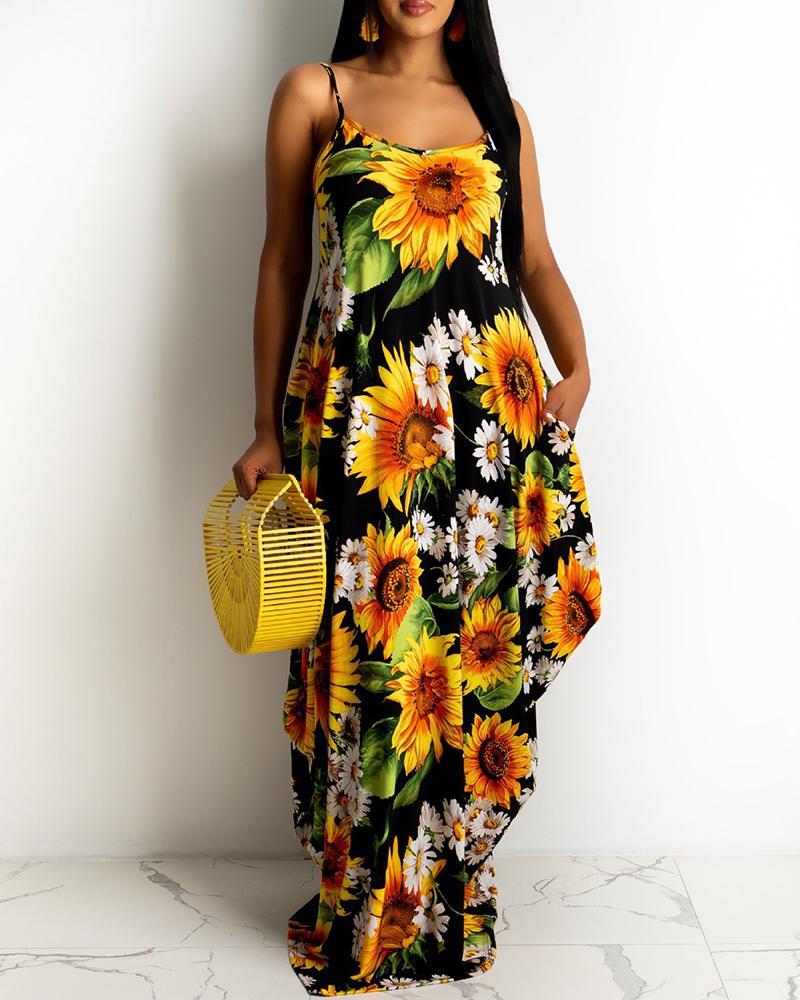 Spaghetti Strap Sunflower Print Maxi Dress
