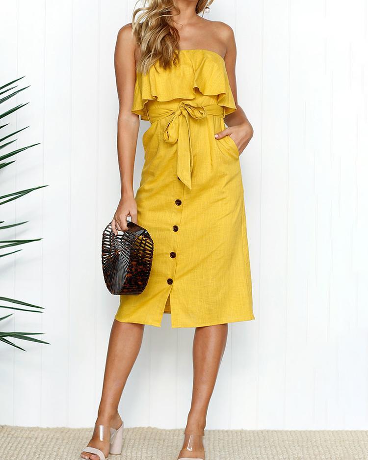 Joyshoetique coupon: Solid Ruffle Button Tie Waist Bandeau Dress