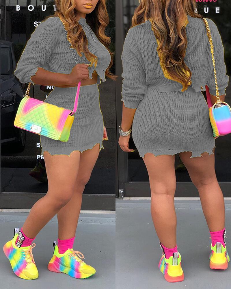 Knitted Irregular Hem Top & Skirt Set