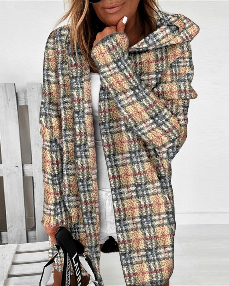Cardigan à capuche chauve-souris à imprimé écossais