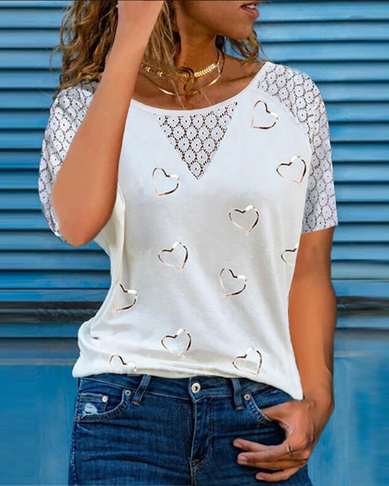 Heart Print Lace Patch Short Sleeve T-Shirt