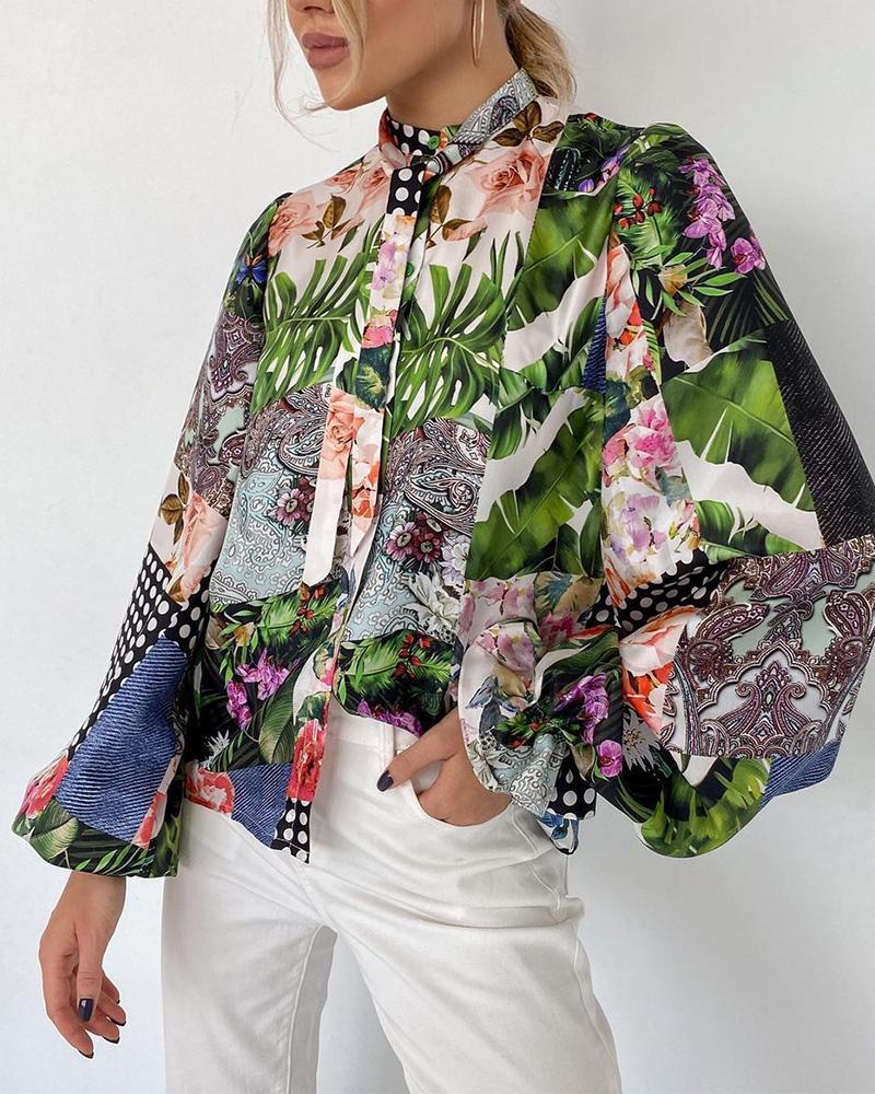 Tropical Print Tie Neck Flounce Sleeve Top