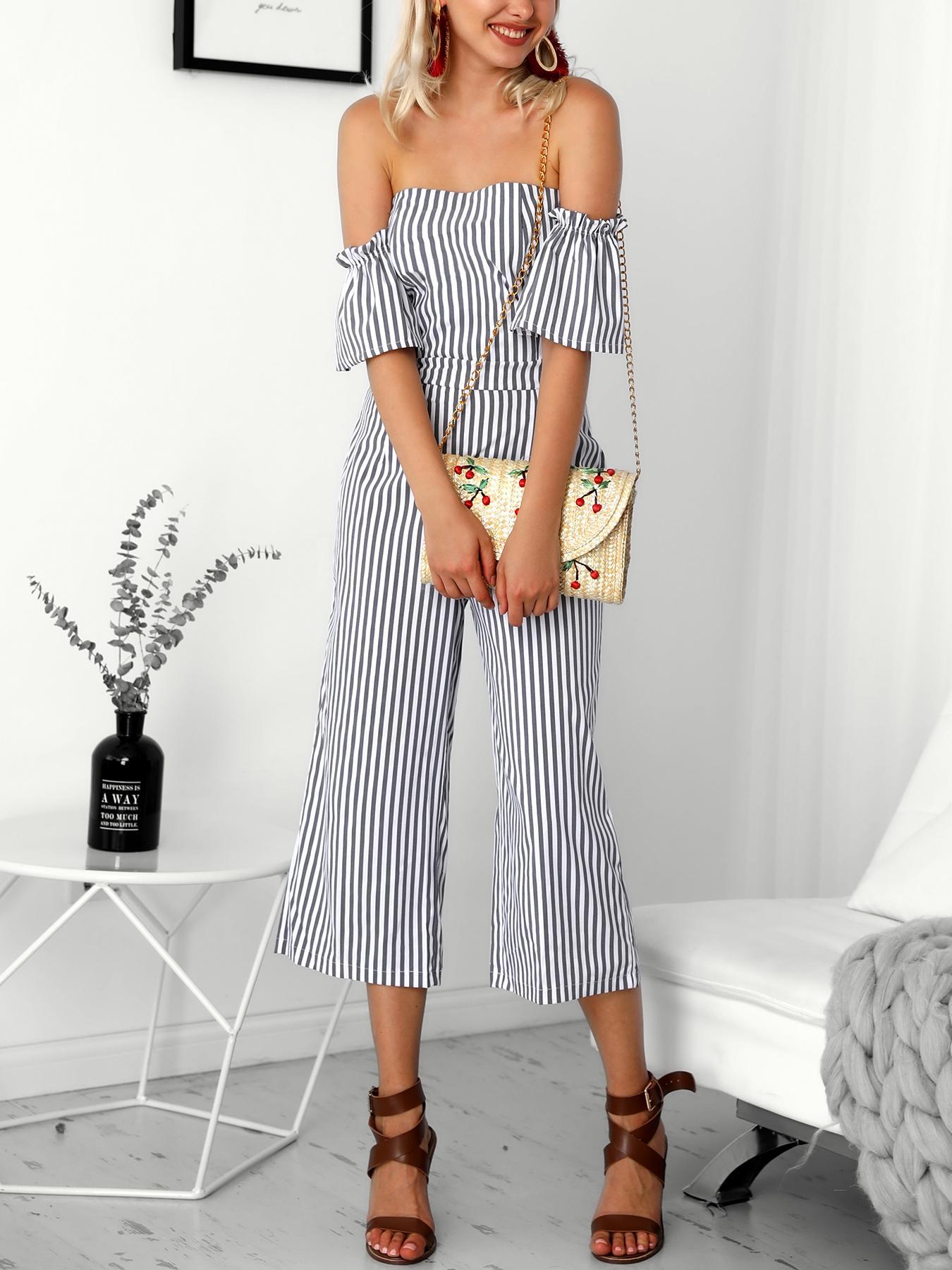 Joyshoetique coupon: Striped Flared Sleeve Bardot Wide Leg Jumpsuit