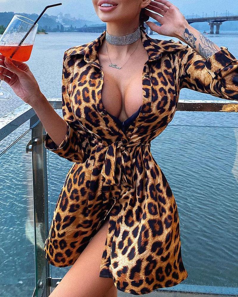 Leopard Print Long Sleeve Button Up Shirt Dress
