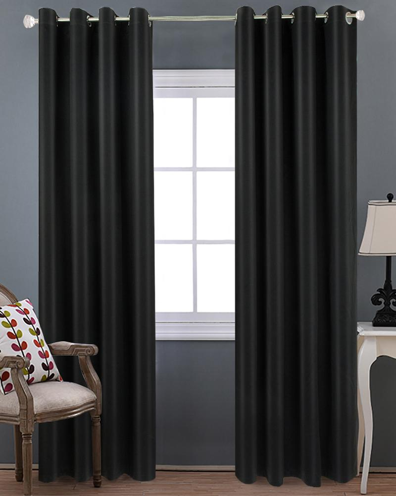 Black Blackout Curtains Back Tab and Rod Pocket Blackout Panels Curtains for Living Room, Room Darkening Curtains