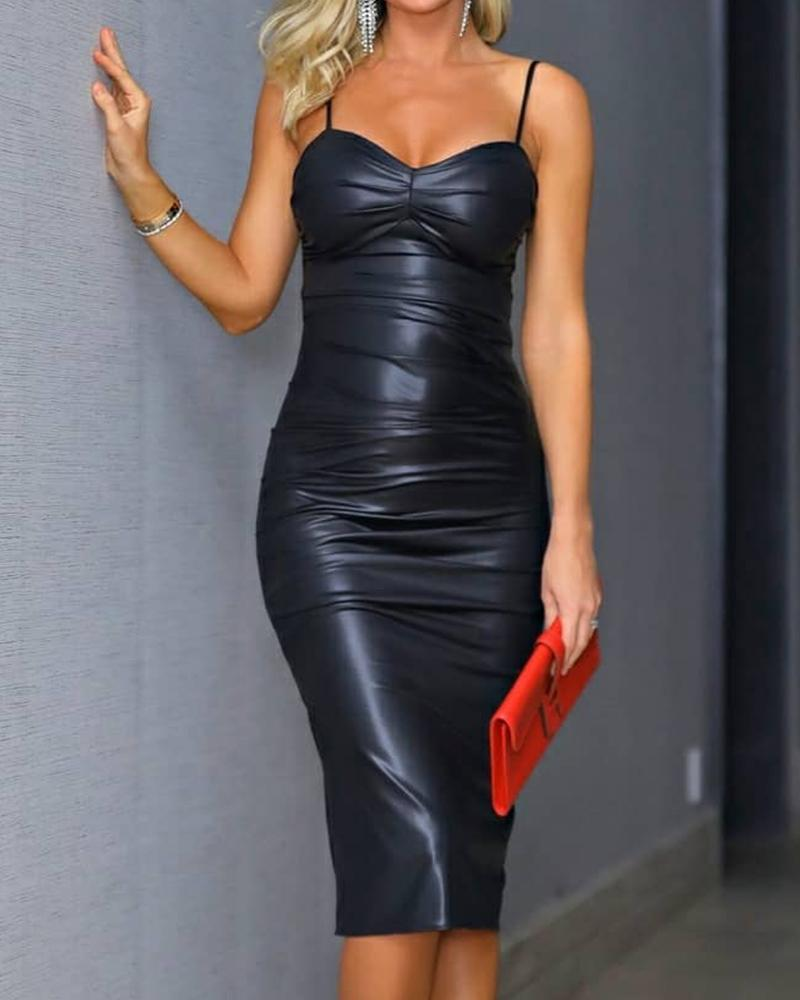 Spaghetti Strap Ruched Skinny PU Leather Dress