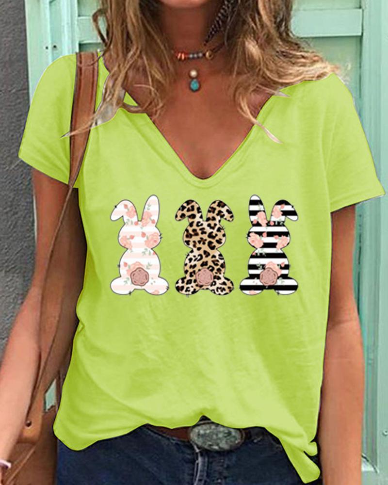 Easter Bunny Cheetah Floral Print Short Sleeve T-shirt thumbnail