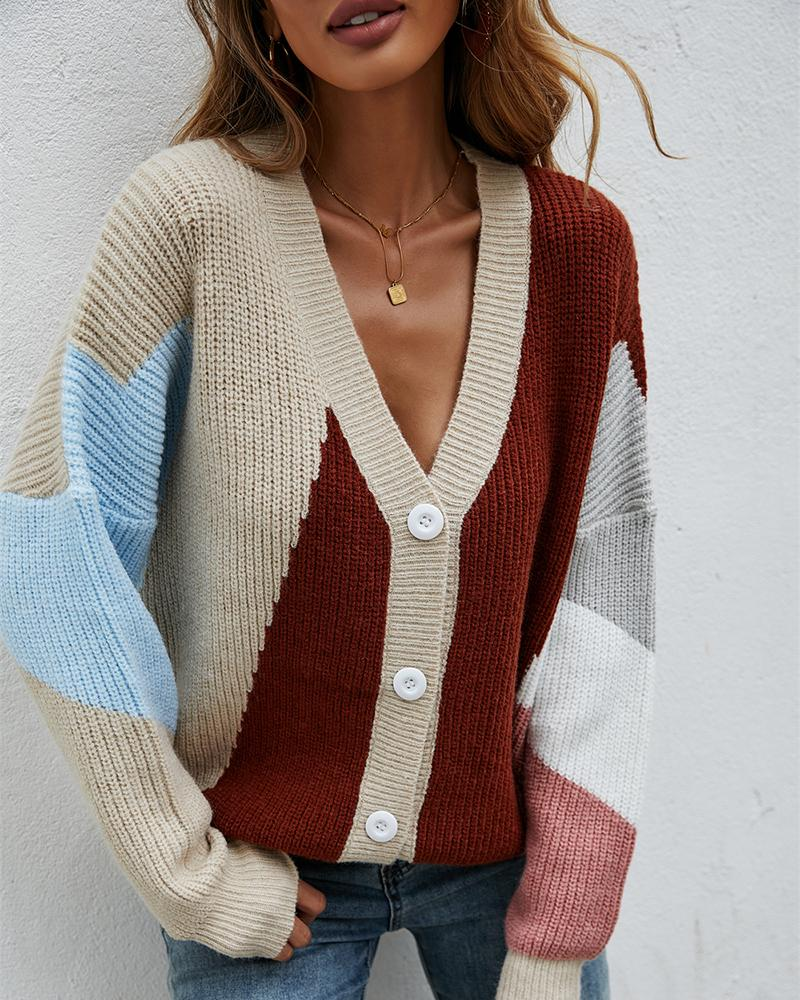 Knit Button Front Colorblock Lantern Sleeve Cardigan, Apricot