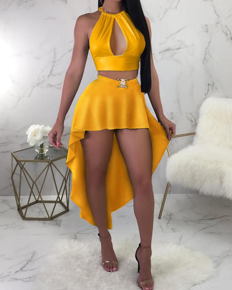Cutout Front Sleeveless Dip Hem Dress