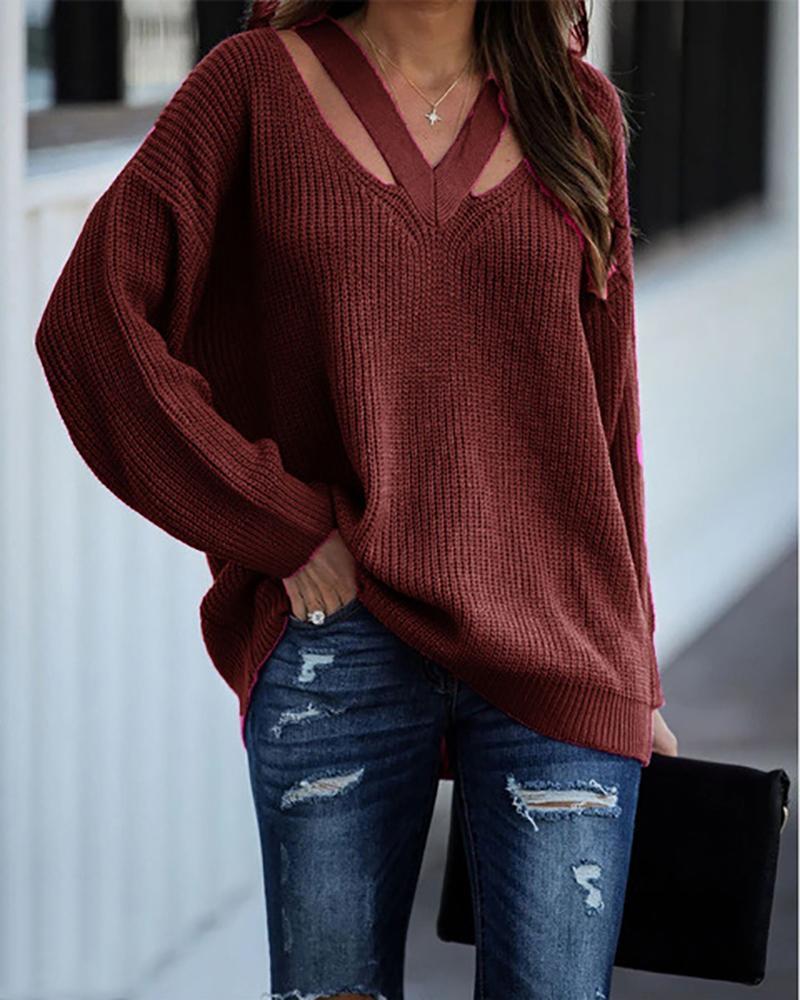 Cutout V-Neck Drop Shoulder Sweater