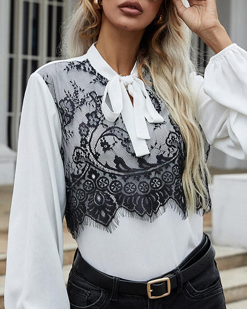 Tied Detail Lace Patch Lantern Sleeve Top