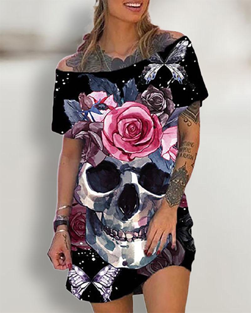 Halloween Short Sleeve Skull Floral Print T-shirt Dress