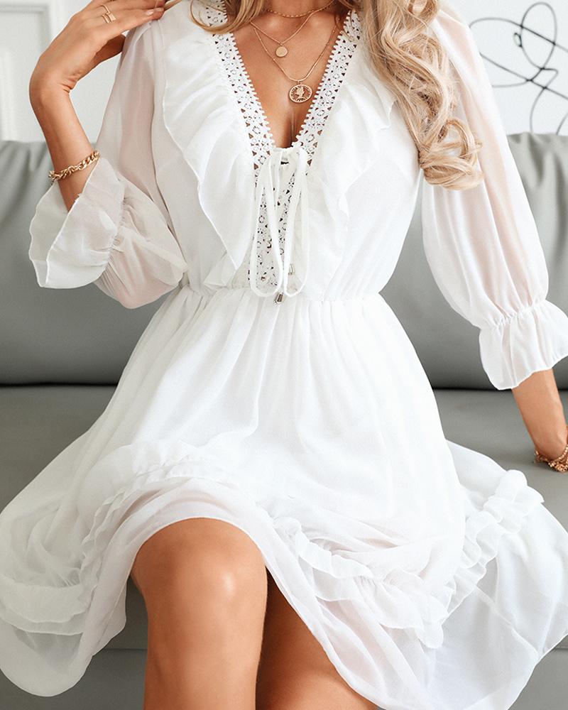 Contrast Lace V-Neck Ruffle Hem Dress, ivrose, white  - buy with discount