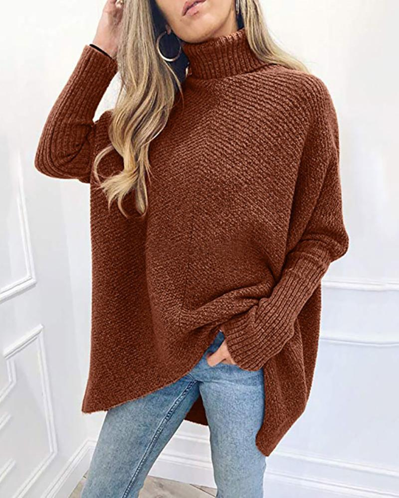 Turtle Neck Plain Bat Wing Sleeve Sweater