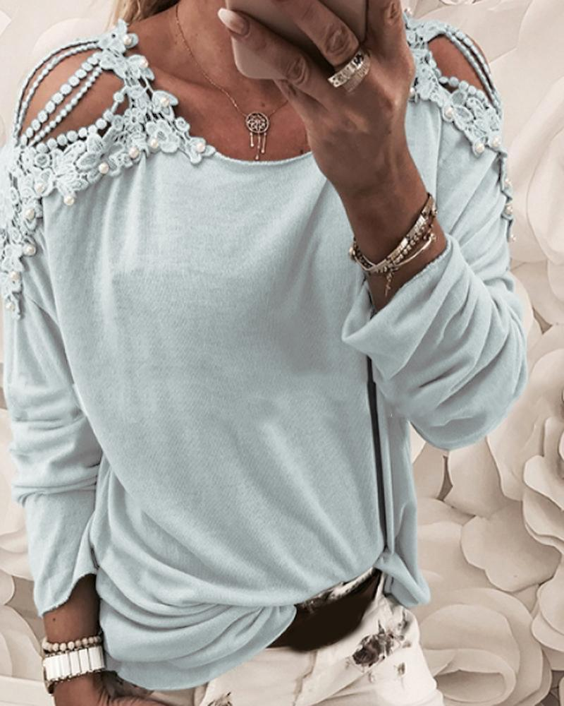 Floral Pattern Beaded Cut Out Casual Top