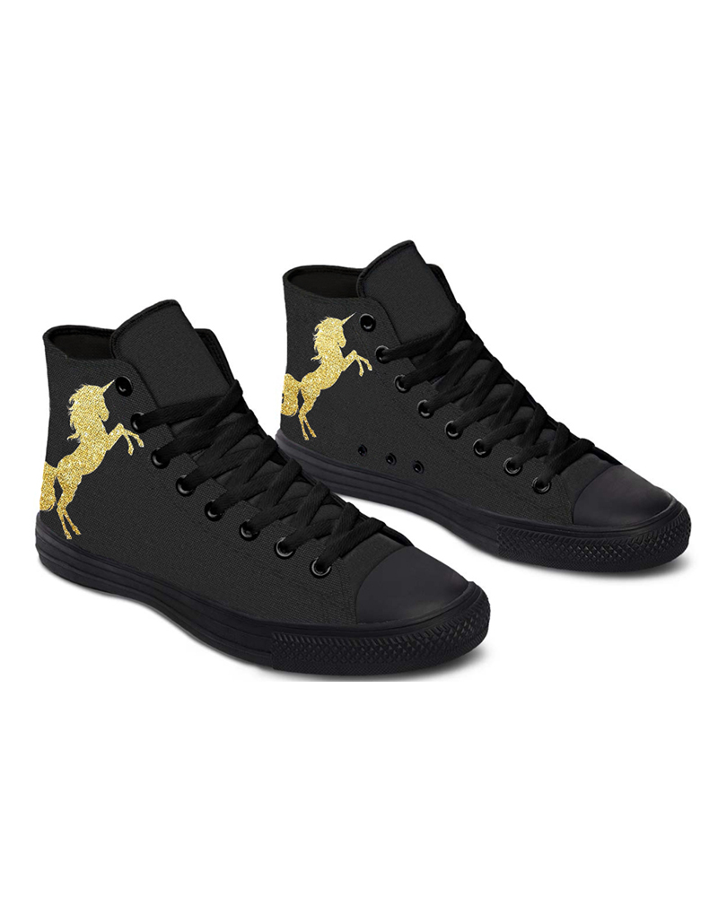 Womens Golden Unicorn Print Lace-up High Top Canvas Casual Shoes, Black