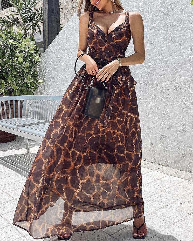 Leopard Print Thick Strap Belted Dress
