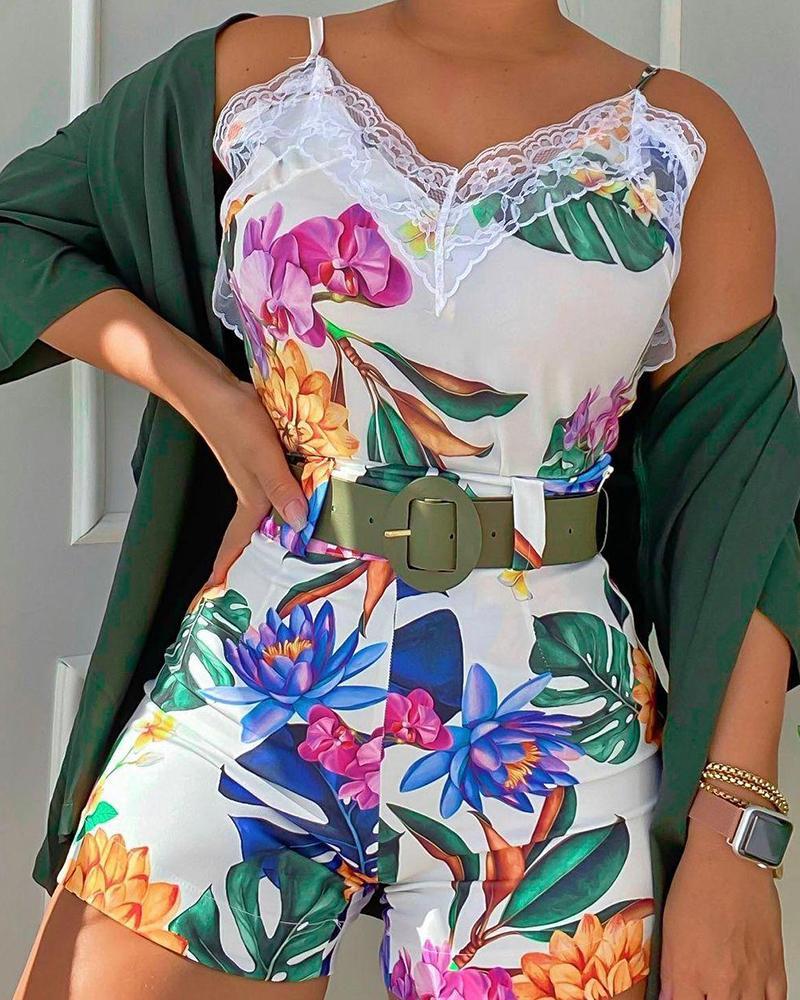Tropical Print Lace Patch Top & Shorts Set