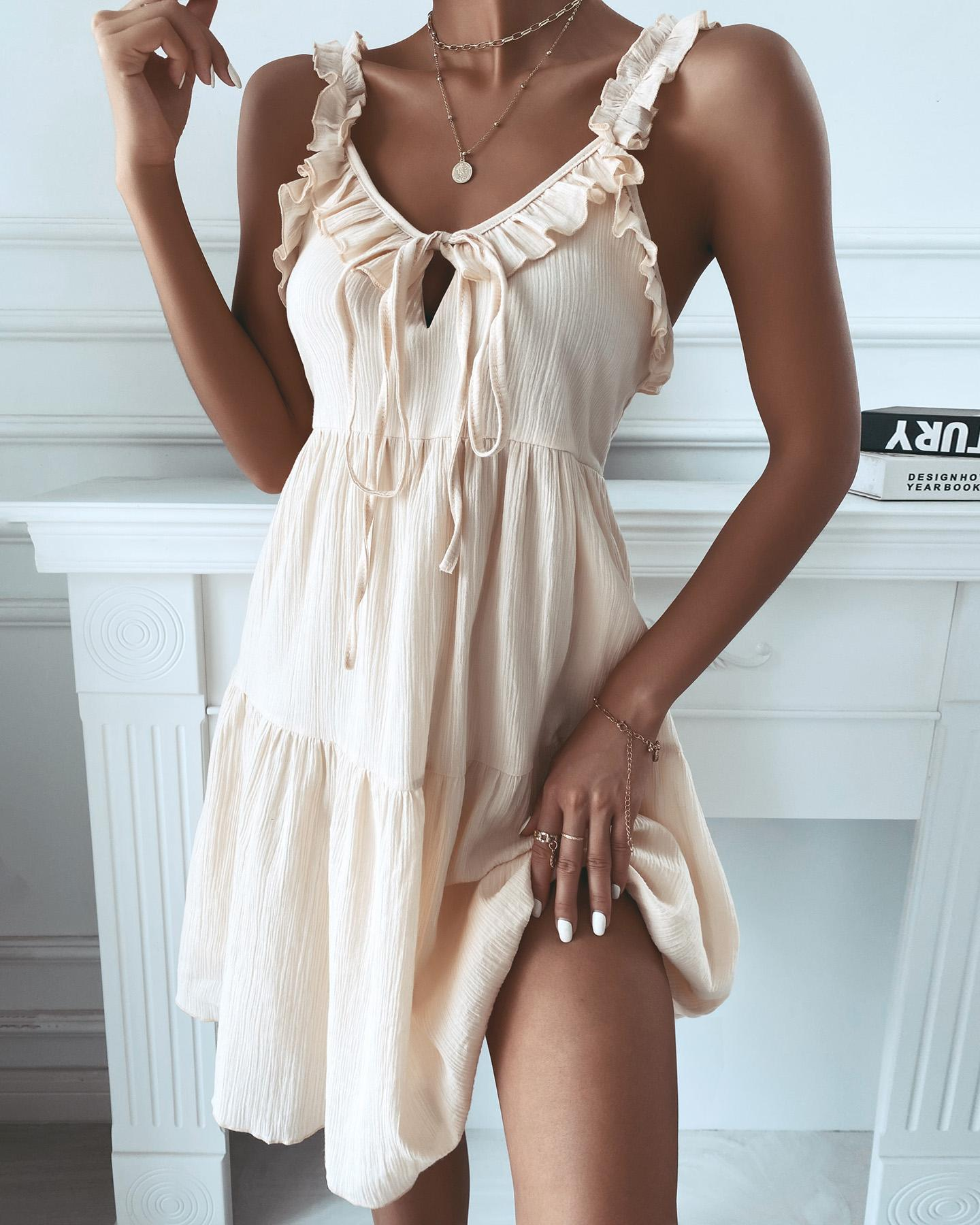 Cami Ruffle Hem Beach Vocational Dress