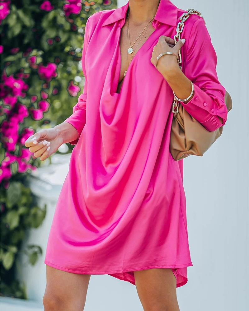 Satin Long Sleeve Casual Shirt Dress