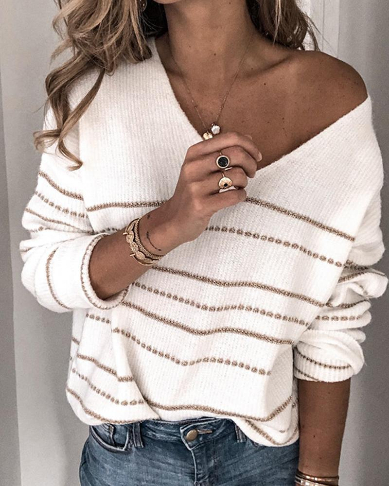 V Neck Striped Knit Sweater