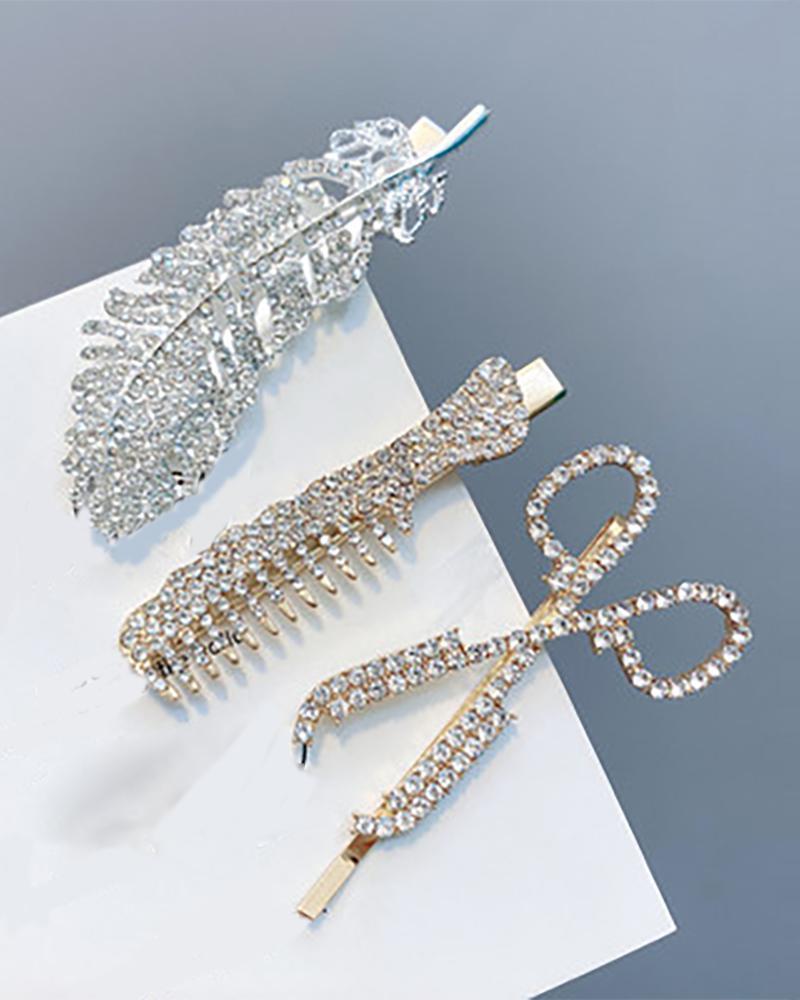 3PCS Feather Scissor Studded Decor Hair Clip