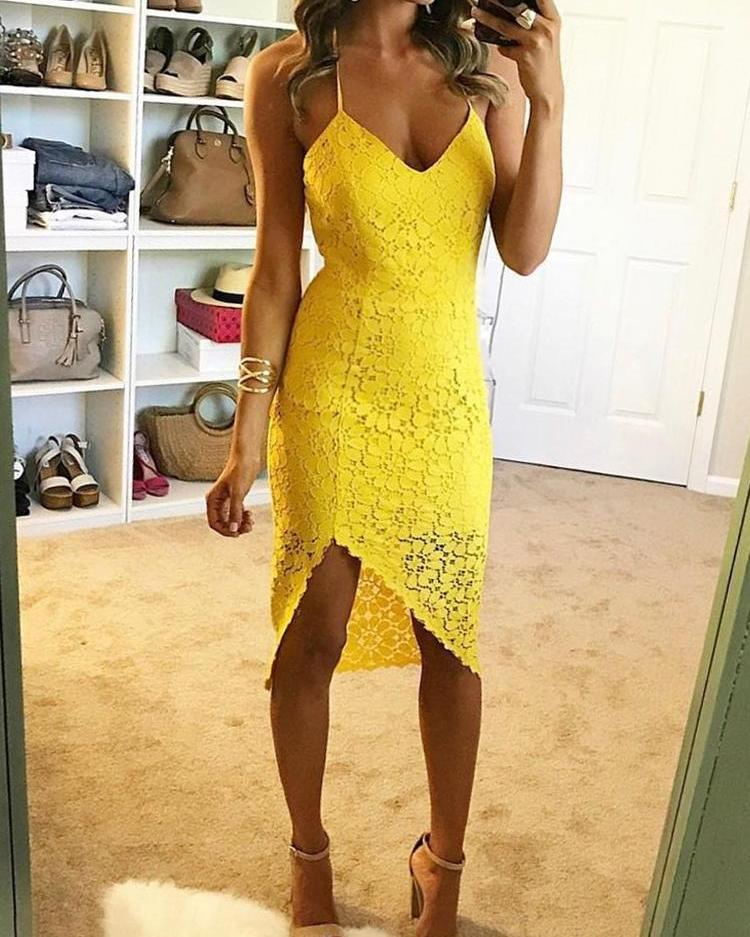 Joyshoetique coupon: Floral Lace Halter Lace-up Back Irregular Dress