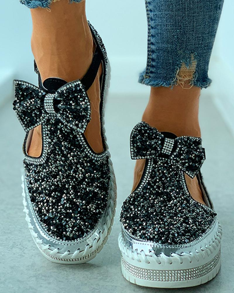 Studded Bowknot Cutout Casual Shoes