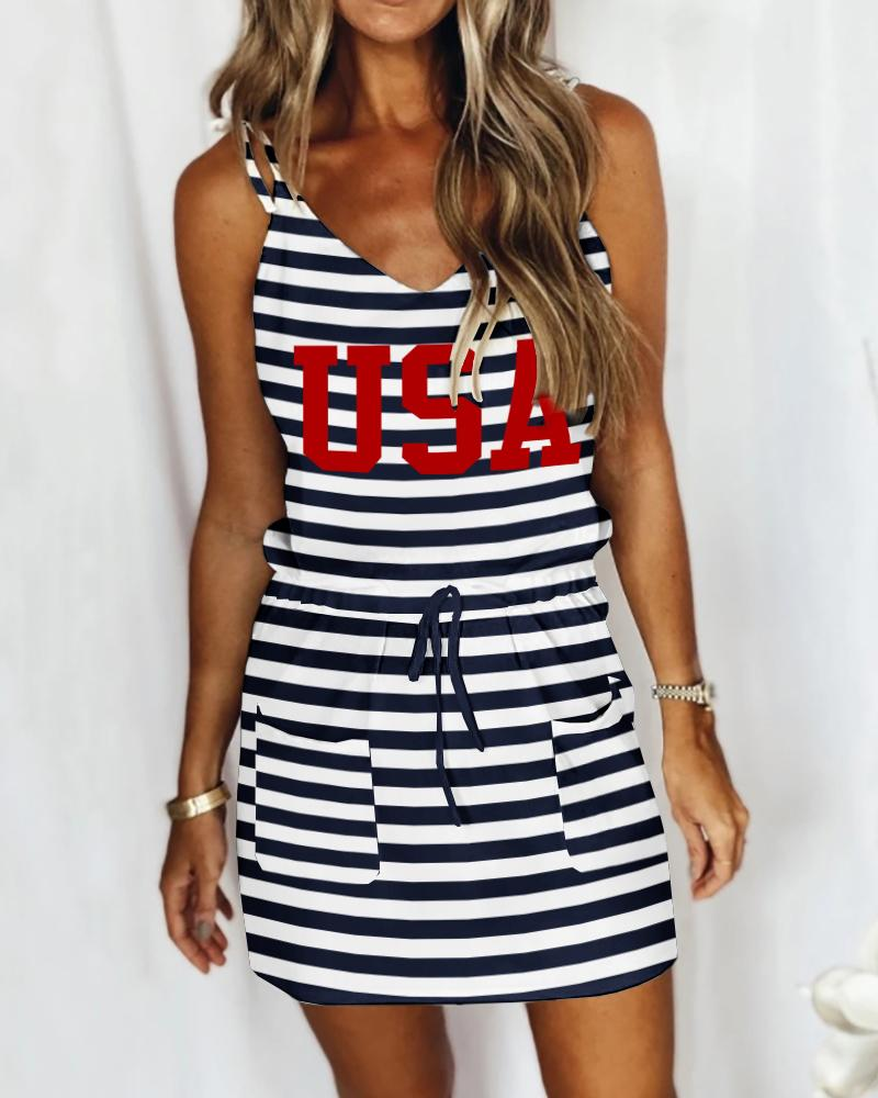 Pocket Design Drawstring Striped Letter Print Casual Dress