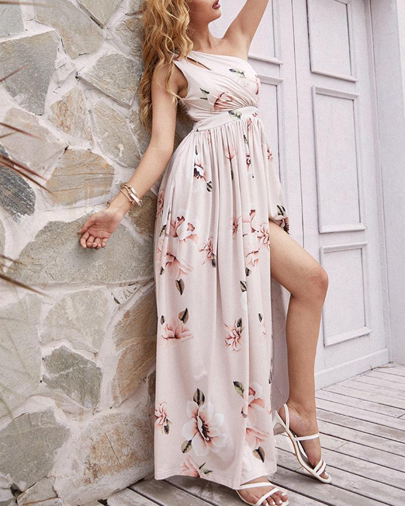 Floral Print One Shoulder Cutout Slit Thigh Maxi Dress