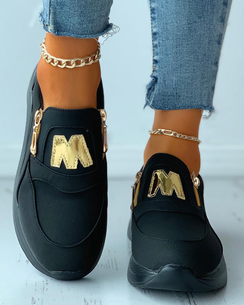 Letter Pattern Zip Decor Wedge Sneaker