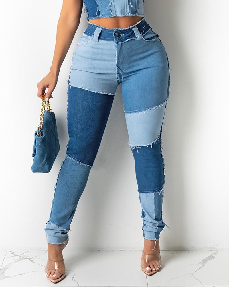 Colorblock Fringe Hem Pocket Design Jeans