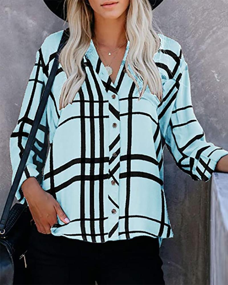 Striped Print Button Front V-Neck Shirt