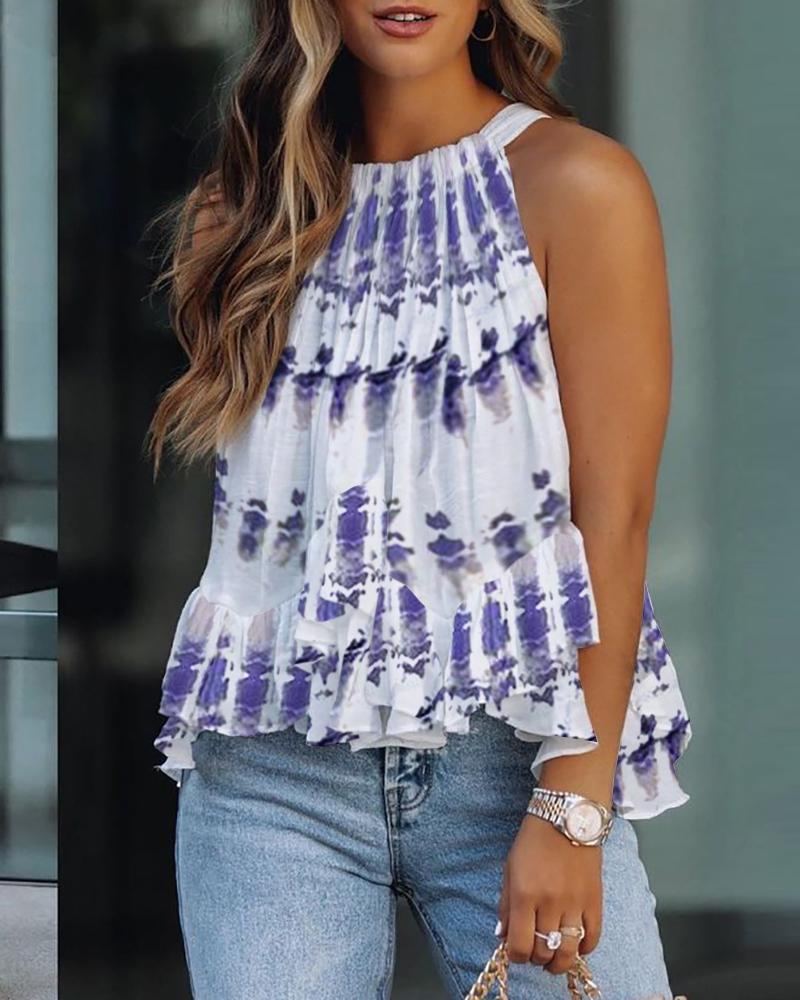 Ruffles Tie Dye Print Sleeveless Top