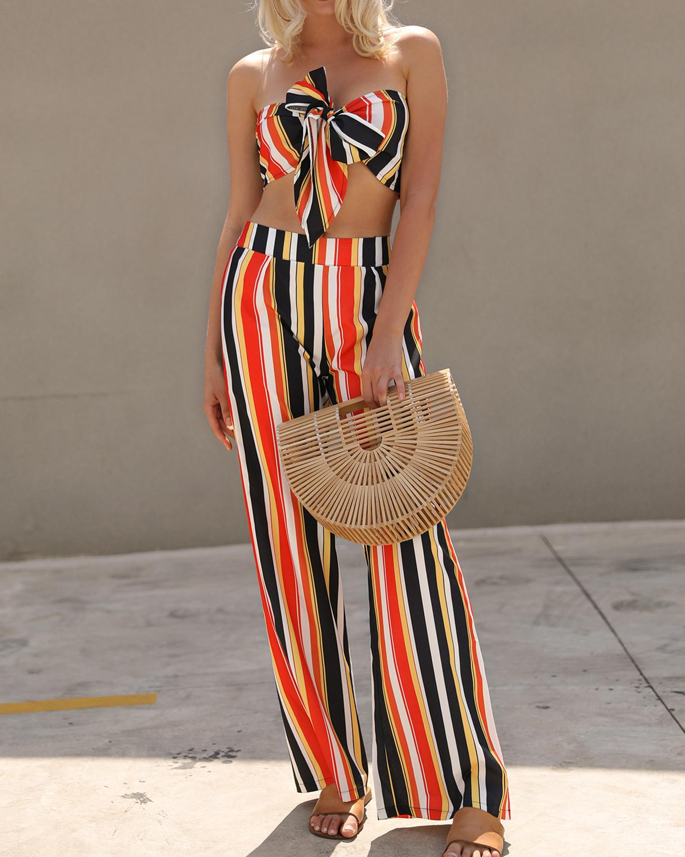 ChicMe coupon: Striped Bowknot Tube Top&Wide Pants Set