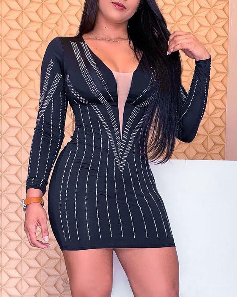 Long Sleeve Sheer Mesh Rhinestone Bodycon Dress