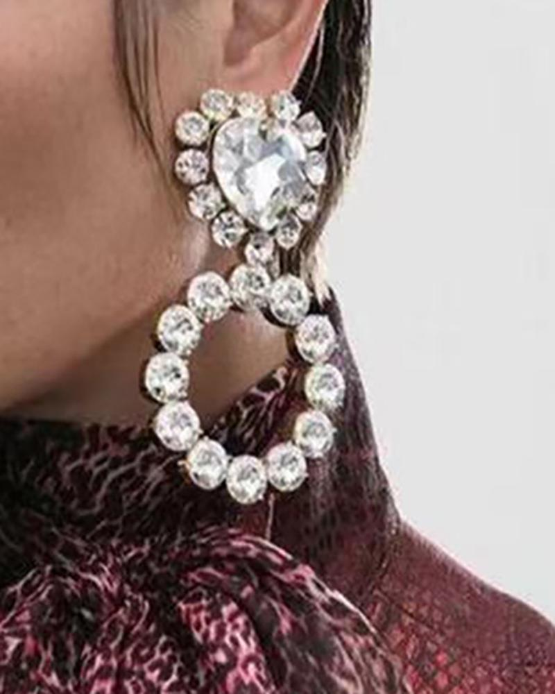 1Pair Heart & Round Shaped Rhinestone Drop Earrings