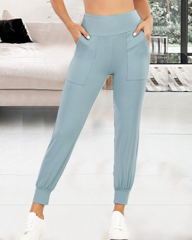 Solid Color Skinny Yoga Pants With Pockets