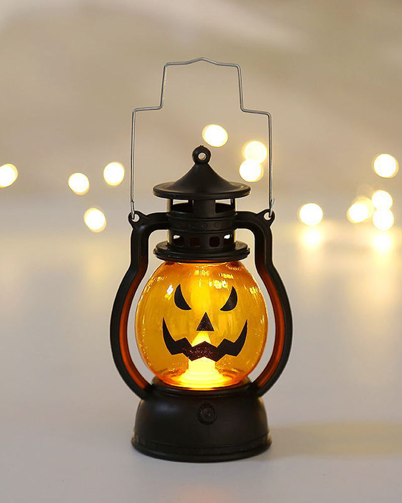 Halloween Pumpkin Lantern Light Battery Operated Scary Skull Lamp Flameless Flickering Candle Light Halloween Home Table Decoration
