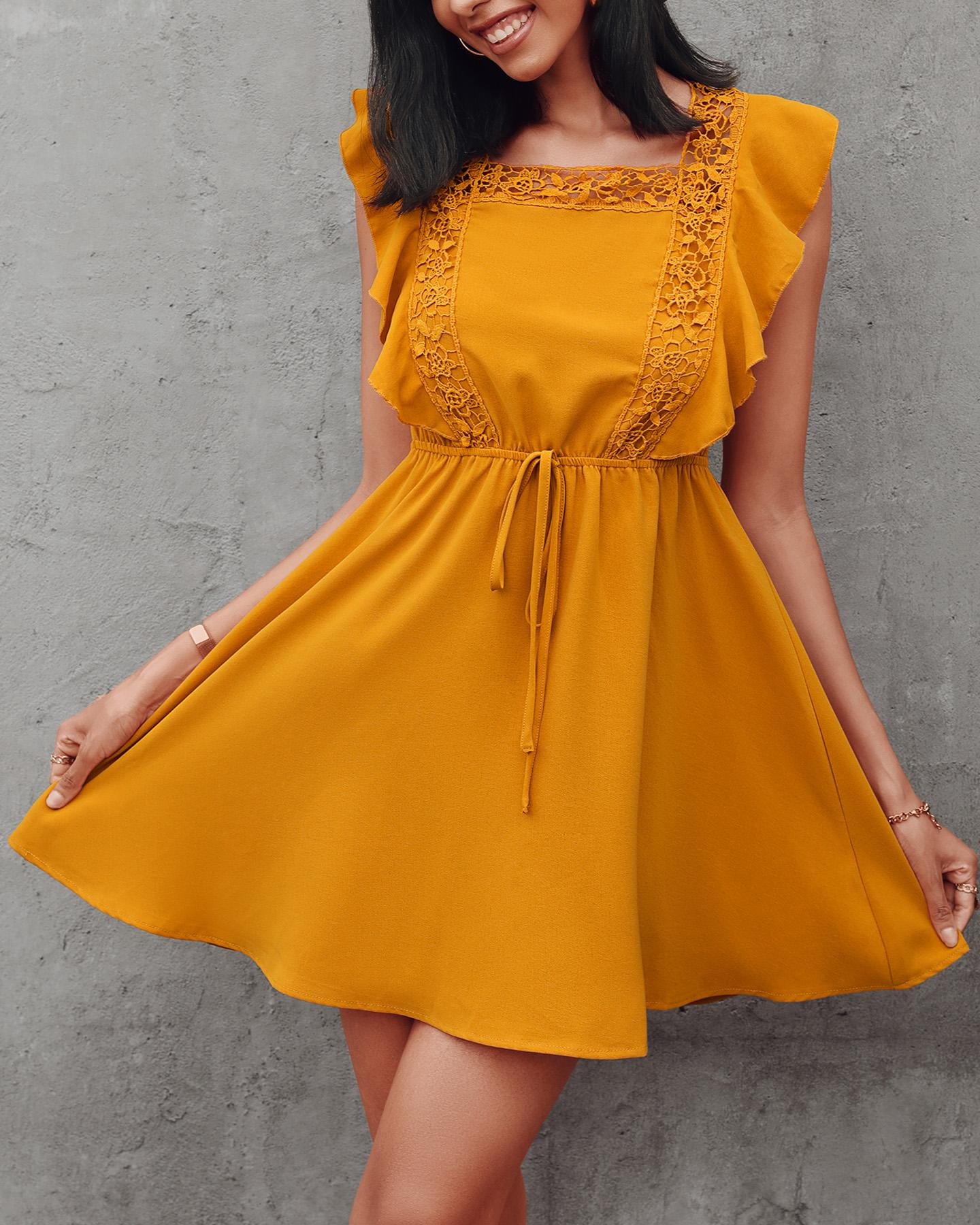 Lace Patch Ruffles Drawstring Casual Dress, Yellow