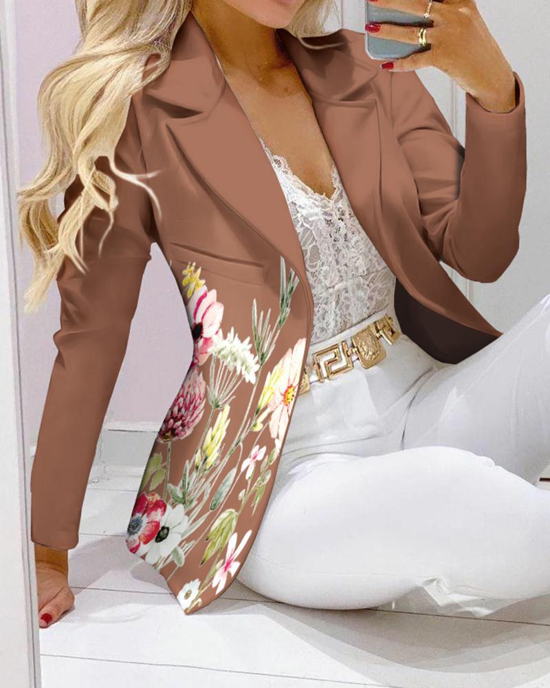 Floral Print Long Sleeve Pocket Design Blazer Coat Elegant Work Blazer