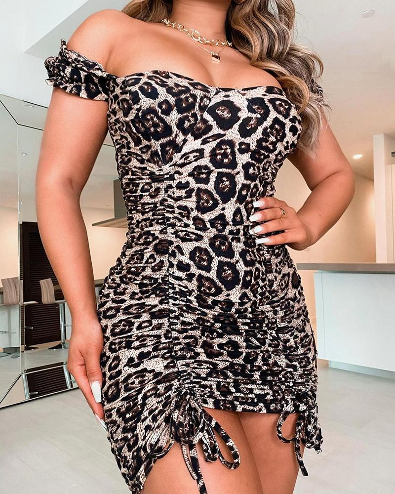 Cheetah Print Off Shoulder Ruched Bodycon Dress thumbnail